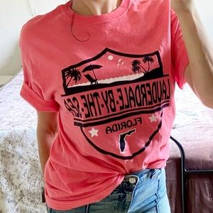 Lauderdale By The Sea Pink Oversized Graphic Tee